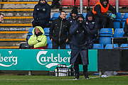 Forest Green Rovers assistant manager, Scott Lindsey shouts instructions during the EFL Sky Bet League 2 match between Crewe Alexandra and Forest Green Rovers at Alexandra Stadium, Crewe, England on 27 April 2019.