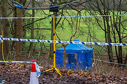 "© Licensed to London News Pictures. 10/12/2019. Gerrards Cross, UK. A police forensic tent sits in woodland as the Metropolitan Police Service continues a search operation in Gerrards Cross, Buckinghamshire. Police have been in the area conducting operations on Hedgerley Lane since Thursday 5th December 2019. In a press statement issued on 7th December a Metropolitan Police spokesperson said ""Officers are currently in the Gerrards Cross area of Buckinghamshire as part of an ongoing investigation.<br /> ""We are not prepared to discuss further for operational reasons."" No further updates have been issued as of 10th December. Photo credit: Peter Manning/LNP"