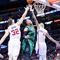 19 January 2015: Boston Celtics forward Jared Sullinger (7) vies for the rebound with Los Angeles Clippers forward Blake Griffin (32) and Los Angeles Clippers forward Matt Barnes (22) during the Los Angeles Clippers 102-93 victory over the Boston Celtics, at the Staples Center, Los Angeles, California, USA.