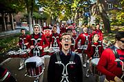 Members of the Penn Band serenade Locust Walk at the University of Pennsylvania as part of the 2017 Homecoming festivities on November 4, 2017.
