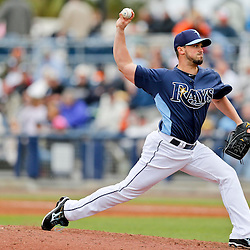 Mar 2, 2013; Port Charlotte, FL, USA; Tampa Bay Rays relief pitcher Brandon Gomes (47) throws against the Baltimore Orioles during the top of the fifth inning of a spring training game at Charlotte Sports Park. Mandatory Credit: Derick E. Hingle-USA TODAY Sports