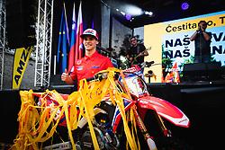 Tim Gajser posing with his bike during sprejem Tima Gajsreja, on Avgust 27, 2019 in Maribor, Slovenia. Photo by Blaž Weindorfer / Sportida