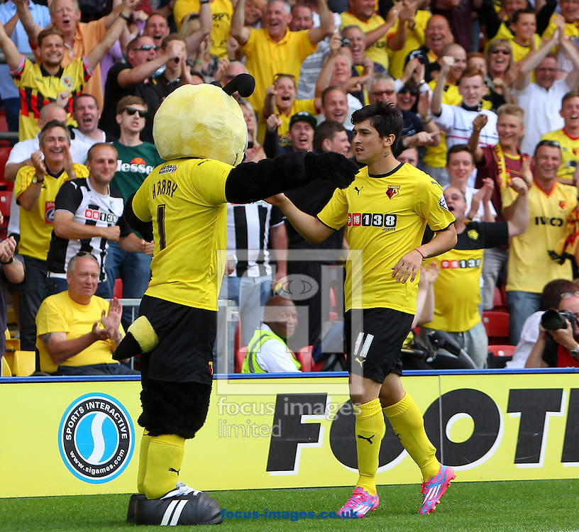 Fernando Forestieri of Watford celebrates after scoring against Bolton Wanderers with mastcot Harry the Hornet during the Sky Bet Championship match at Vicarage Road, Watford<br /> Picture by John Rainford/Focus Images Ltd +44 7506 538356<br /> 09/08/2014