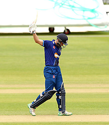 Gloucestershire's Michael Klinger raises his bat after reaching fifty - Mandatory by-line: Robbie Stephenson/JMP - 07966386802 - 04/08/2015 - SPORT - CRICKET - Bristol,England - County Ground - Gloucestershire v Durham - Royal London One-Day Cup