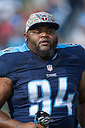 NASHVILLE, TN - NOVEMBER 15:  Sammie Hill #94 of the Tennessee Titans runs onto the field before a game against the Carolina Panthers at Nissan Stadium on November 15, 2015 in Nashville, Tennessee.  (Photo by Wesley Hitt/Getty Images) *** Local Caption *** Sammie Hill