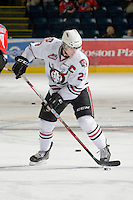 KELOWNA, CANADA, NOVEMBER 9: Adam Kambeitz #23 of the Red Deer Rebels stick handles the puck during warm up as the Red Deer Rebels visit the Kelowna Rockets  on November 9, 2011 at Prospera Place in Kelowna, British Columbia, Canada (Photo by Marissa Baecker/Shoot the Breeze) *** Local Caption ***