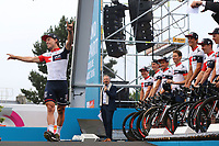 Team IAM CYCLING (SUI)/ Mathias FRANK (SWI)/ Jarlinson PANTANO (COL)/ Oliver NAESEN (BEL)/ Sondre HOLST ENGER (NOR)/ Reto HOLLENSTEIN (SWI)/ Martin ELMIGER (SWI)/ Stef CLEMENT (NED)/ Jerome COPPEL (FRA)/ Leigh HOWARD (AUS during the 103rd Tour de France 2016, Team Presentation, at Sainte-Mère-l'Eglise in France, on June 30, 2016 - Photo Tim de Waele / DPPI