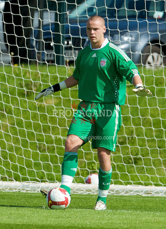 KIRKBY, ENGLAND - Saturday, August 23, 2008: Liverpool's goalkeeper Chris Oldfield in action against Crystal Palace during the FA Academy Under 18 match at the Academy. (Photo by David Rawcliffe/Propaganda)
