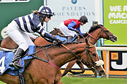MISTER BELVEDERE (4) ridden by Miss Sophie Dods and trained by her father Michael Dods winning The Queen Mothers Cup (for Lady Amateur Riders) over 1m 4f (£20,000) in a PHOTOGRAPH FINISH during the Macmillan Charity Raceday at York Racecourse, York, United Kingdom on 16 June 2018. Picture by Mick Atkins.