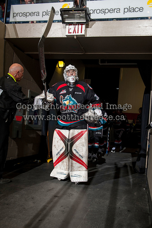 KELOWNA, CANADA - OCTOBER 4: Brodan Salmond #31 of the Kelowna Rockets enters the ice for second period against the Victoria Royals on October 4, 2017 at Prospera Place in Kelowna, British Columbia, Canada.  (Photo by Marissa Baecker/Shoot the Breeze)  *** Local Caption ***