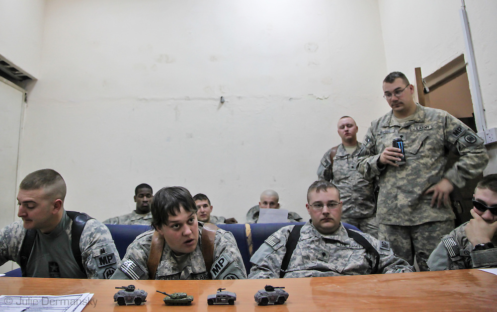 March, 17, 2009, Baghdad, Iraq, 39th Louisiana National Guard MP Company at a morning briefing before leaving the Camp Shield to visit an Iraqi Police station where they are tasked to train Iraqi officers.