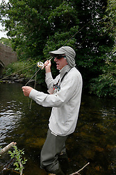 UK ENGLAND ENGLAND SHROPSHIRE LLANYBLODWEL 1JUL15 - Angler Robert Park practices fly fishing in the river Tanat in Llanyblodwel, part of the river Severn catchment area.<br /> <br /> jre/Photo by Jiri Rezac / WWF UK<br /> <br /> &copy; Jiri Rezac 2015