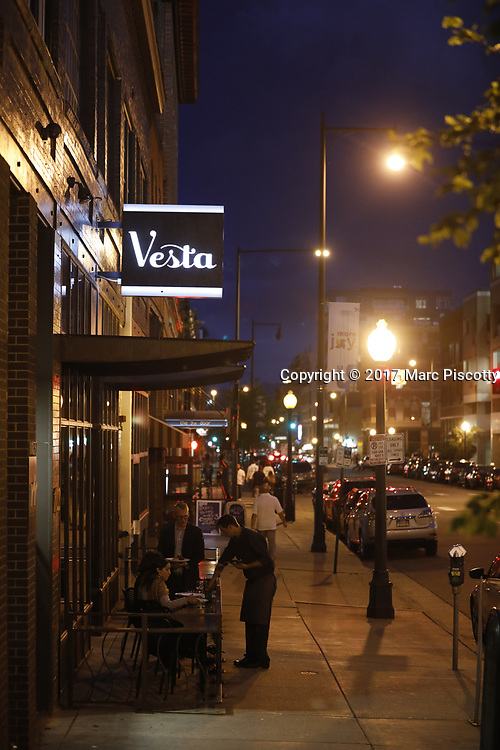 SHOT 5/12/17 8:38:58 PM - Vesta menu items and cocktails at the downtown Denver institution that is celebrating 20 years in business. Bold flavors, inspired dishes, an intimate setting and expertly crafted cocktails make Vesta Denver's go-to dining destination.  Includes images of owner Josh Wolkon and his wife as well as Vesta's new Executive Chef Nicholas Kayser. (Photo by Marc Piscotty / © 2017)