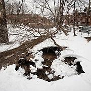 December 28, 2010 - Bronx, NY : A broken water main brought ConEd and DEP personell to West 232nd street. A broken water main created a sinkhole in Ewen Park near West 232nd street and Riverdale Ave.