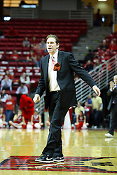 30 January 2011: Coach Tim Jankovich leaves the coaches box when he can't believe a call by the officials during an NCAA basketball game between the Drake Bulldogs and the Illinois State Redbirds. The Redbirds win in OT 77-75 after a last three point shot by Drake was ruled too late at Redbird Arena in Normal Illinois.