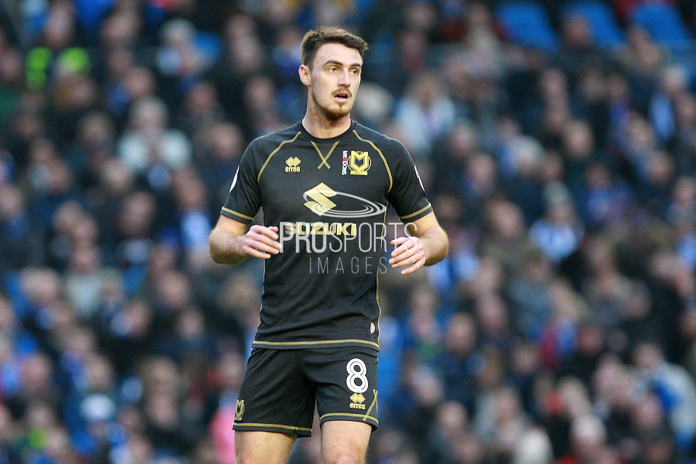 Milton Keynes Dons midfielder Darren Potter (8) during the The FA Cup match between Brighton and Hove Albion and Milton Keynes Dons at the American Express Community Stadium, Brighton and Hove, England on 7 January 2017. Photo by Bennett Dean.
