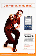 Microsoft Pocket PC ad. Man pointing at viewer.