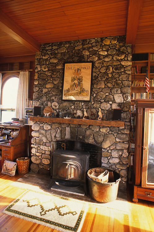 Stone fireplace built by Old Jake, 1910, Mount Pleasant, Brandon, Vermont
