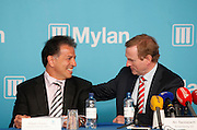 No fee for Repro: 18/04/2012.Taoiseach Enda Kenny TD announces Mylan's decision to invest $430 million and create in excess of 500 new jobs at its Galway and Dublin facilities...Robert Coury, Executive Chairman, Mylan is pictured with An Taoiseach Enda Kenny TD at the announcement by the Irish Development Authority (IDA), and Mylan one of the world's largest generics and speciality pharmaceutical companies, is expected to create more than 500 new jobs at its Galway and Dublin facilities by the end of 2016. Pic Jason Clarke Photography.