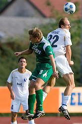 Andrej Dugolin of Olimpija vs Milan Osterc of Gorica at the football match Olimpija vs Hit Gorica in 11th Round of Prva liga 2009 - 2010,  on September 27, 2009, in ZSD Ljubljana, Ljubljana, Slovenia.  (Photo by Vid Ponikvar / Sportida)