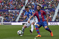 March 4, 2018 - Valencia, Valencia, Spain - Pablo Piatti (L) of RCD Espanyol competes for the ball with Morales of Levante UD during the La Liga match between Levante UD and RCD Espanyol at Ciutat de Valencia on March 4, 2018 in Valencia, Spain  (Credit Image: © David Aliaga/NurPhoto via ZUMA Press)
