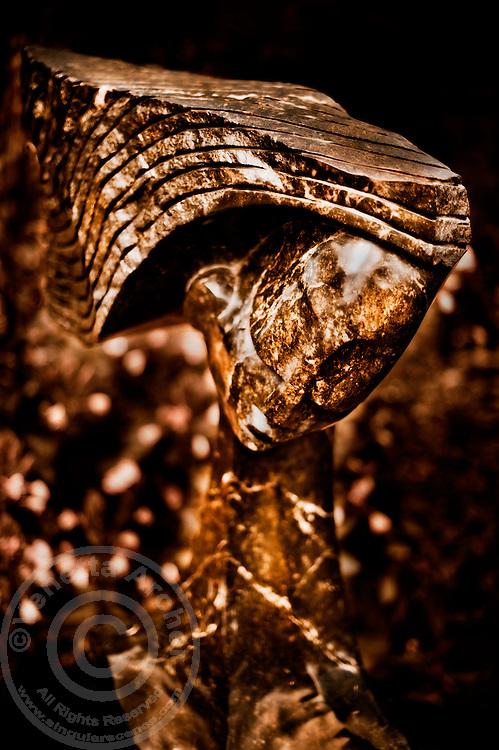 Zimsculpt at Van Dusen Botanical Garden: Waiting Patiently - opal stone sculpture by Witness Bonjisi (original sculpture available at www.zimsculpt.com)