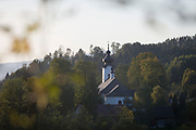 Forest and exterior of the Greek-Catholic Jana Chrzciciela church, on 21st September 2019, in Jaworki, near Szczawnica, Malopolska, Poland.