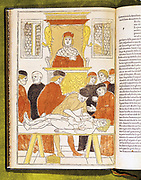 Anatomy lecture at Padua, Italy. Professor remains in his chair reading from book, while Demonstrator points out progress of dissection with stick. The students took no active part in dissection: this 'ignoble' task was carried out by a lower grade of employee.  From Johannes de Ketham 'Fasciocolo di Medicina',1493. Hand-coloured engraving.