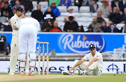 England's Alistair Cook (right) appears dejected after dropping a catch off West Indies Jermaine Blackwood during day five of the the second Investec Test match at Headingley, Leeds.