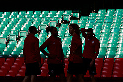 CARDIFF, WALES - Wednesday, October 10, 2018: Wales players during a training session at the Principality Stadium ahead of the International Friendly match between Wales and Spain. James Chester, captain Ashley Williams, Ethan Ampadu and Andy King. (Pic by David Rawcliffe/Propaganda)