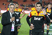 Rugby Football Union Vice President Bryan Williams and  Mils Muliaina during the post game presentation to Mils Muliaina for his 100th game after the Investec Super 15 Rugby match, Chiefs v Stormers, at Waikato Stadium, Hamilton, New Zealand, Saturday 14 May 2011. Photo: Dion Mellow/photosport.co.nz