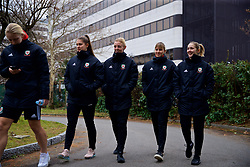 BOLOGNA, ITALY - Tuesday, January 22, 2019: Wales' L-R goalkeeper Claire Skinner, captain Sophie Ingle, Gemma Evans and Cori Williams during a pre-match walk at the team hotel in Bologna ahead of the International Friendly game against Italy. (Pic by David Rawcliffe/Propaganda)