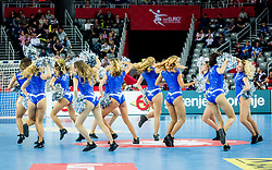 Cheerleaders during handball match between National teams of Denmark and Sweden in Half Final match of Men's EHF EURO 2018, on January 26, 2018 in Arena Zagreb, Zagreb, Croatia. Photo by Ziga Zupan / Sportida
