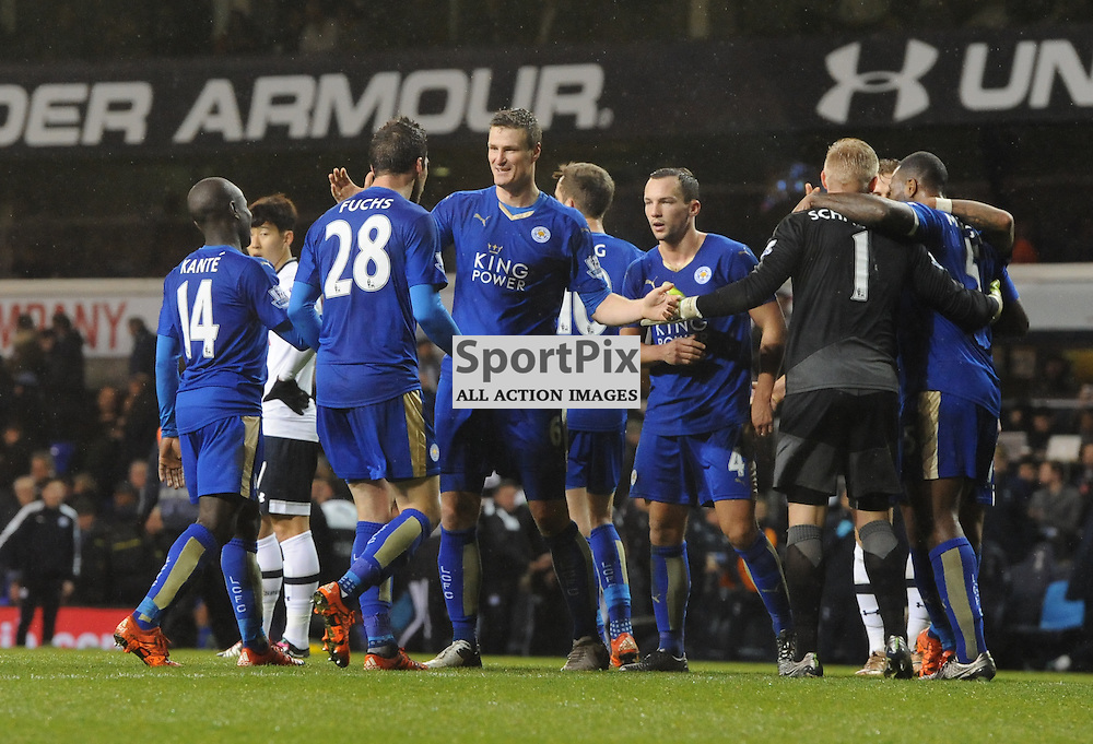 Robert Huth and his delighted team mates celebrate at the final whistle (c) Simon Kimber | SportPix.org.uk