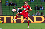 MELBOURNE, AUSTRALIA - APRIL 13: Adelaide United defender Scott Galloway (3) controls the ball during round 25 of the Hyundai A-League soccer match between Melbourne City FC and Adelaide United on April 13, 2019 at AAMI Park in Melbourne, Australia. (Photo by Speed Media/Icon Sportswire)
