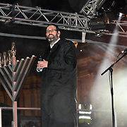 Rabbi Mark Levine  and Klezmer band preforms at the ceremony to light a sacred Menorah to celebrate Chanukah (Hanukkah), the eight-day Jewish Festival in Trafalgar Square, 5th December 2018, London, UK.