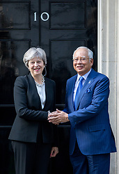 © Licensed to London News Pictures. 14/09/2017. London, UK. British Prime Minister Theresa May meets Malaysian Prime Minister Najib Razak in Downing Street. Photo credit : Tom Nicholson/LNP