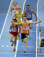 Photo: Rich Eaton.<br /> <br /> EAA European Athletics Indoor Championships, Birmingham 2007. 04/03/2007. Arnoud Okken #401 of Holland wins gold in the mens 800m final