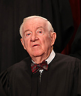 Supreme Court Justice  John Paul Stevens poses in the official group photograph of the United States Supreme court on September 29, 2009.  Photograph: Dennis Brack
