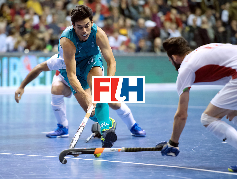 BERLIN - Indoor Hockey World Cup<br /> Bronze: Iran - Australia<br /> foto: Alexander Mackay and Mohammad Asnaashari <br /> WORLDSPORTPICS COPYRIGHT FRANK UIJLENBROEK
