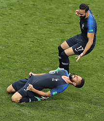 MOSCOW, July 15, 2018  France's Olivier Giroud (bottom) and Adil Rami celebrate victory after the 2018 FIFA World Cup final match between France and Croatia in Moscow, Russia, July 15, 2018. France defeated Croatia 4-2 and claimed the title. (Credit Image: © Xu Zijian/Xinhua via ZUMA Wire)