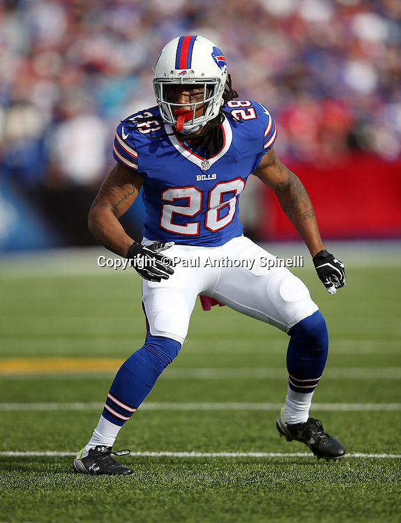 Buffalo Bills cornerback Ronald Darby (28) chases the action during the 2015 NFL week 4 regular season football game against the New York Giants on Sunday, Oct. 4, 2015 in Orchard Park, N.Y. The Giants won the game 24-10. (©Paul Anthony Spinelli)