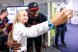 Fred Thomas of Bristol Flyers has a selfie with a fan - Mandatory by-line: Robbie Stephenson/JMP - 17/09/2019 - BASKETBALL - SGS Arena - Bristol, England - Bristol Flyers Open Training Session