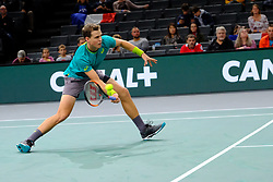 October 30, 2017 - Paris, France - The Canadian player VASEK POSPISIL returns the ball to French player NICOLAS MAHUT during the tournament Rolex Paris Master at Paris AccorHotel Arena Stadium in Paris France.Nicolas Mahut won 7-5 5-7 7-6 (Credit Image: © Pierre Stevenin via ZUMA Wire)