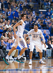 Kentucky guard Jamal Murray, right, congratulates forward Derek Willis after he scored 3 of his 25 points.<br /> <br /> The University of Kentucky hosted the University of Tennessee, Thursday, Feb. 18, 2016 at Rupp Arena in Lexington .