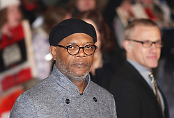 US actor Samuel L Jackson as he arrives with at right in the background German Austrian actor Christopher Waltz also arriving for the British Premiere of their latest film Django in London's Leicester Square, UK, Thursday January 10, 2013. Photo by Max Nash / i-Images.