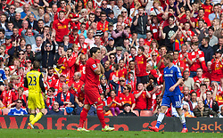 27.04.2014, Anfield, Liverpool, ENG, Premier League, FC Liverpool vs FC Chelsea, 36. Runde, im Bild Liverpool's Luis Suarez looks dejected after missing a chance against Chelsea // during the English Premier League 36th round match between Liverpool FC and Chelsea FC at Anfield in Liverpool, Great Britain on 2014/04/27. EXPA Pictures © 2014, PhotoCredit: EXPA/ Propagandaphoto/ David Rawcliffe<br /> <br /> *****ATTENTION - OUT of ENG, GBR*****