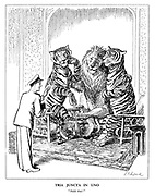 "Tria Juncta in Uno. ""Hold that!"" (the India and Pakistan Tigers pose for a photo with the British Lion taken by Louis Mountbatten)"