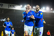 Goal - Ronan Curtis (11) of Portsmouth celebrates after he scores a goal to give a 2-0 lead with Ben Close (33) of Portsmouth during the EFL Sky Bet League 1 match between Portsmouth and Wycombe Wanderers at Fratton Park, Portsmouth, England on 26 December 2019.