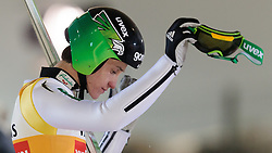 19.02.2016, Salpausselkae Schanze, Lahti, FIN, FIS Weltcup Ski Sprung, Lahti, Herren, im Bild Peter Prevc (SLO) // Peter Prevc of Slovenia reacts during Mens FIS Skijumping World Cup of the Lahti Ski Games at the Salpausselkae Hill in Lahti, Finland on 2016/02/19. EXPA Pictures © 2016, PhotoCredit: EXPA/ JFK